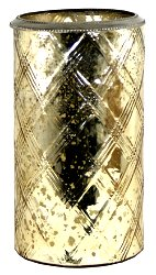 Glass Flower Vase With Metal Ring Gold