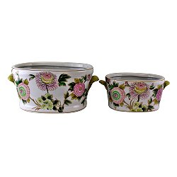 Set of 2 Ceramic Footbath Planters, Floral Design