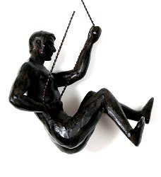 Abseiling Man Looking Down Ornament Black