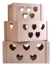 Set of 3 Wooden Heart Storage Crates