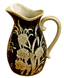 Ceramic Embossed Jug Style Vase, Regal Design
