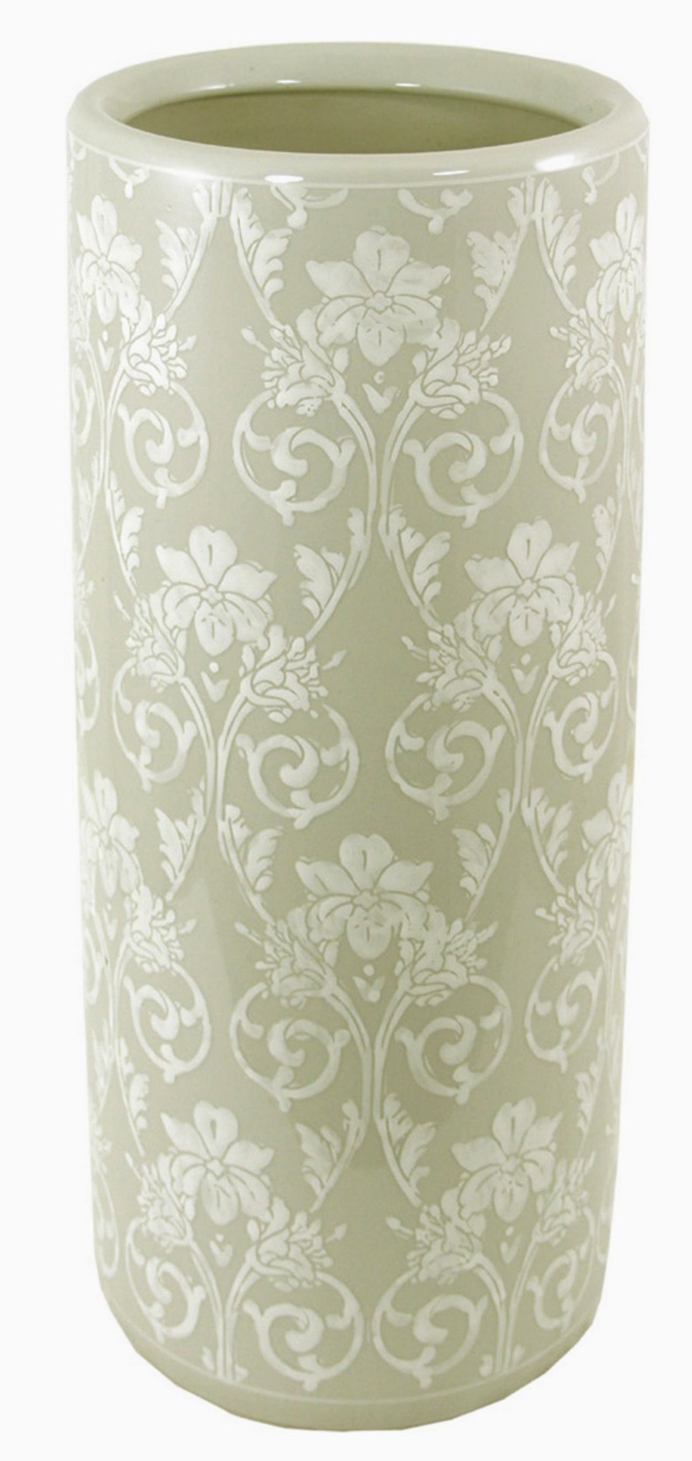Ceramic Embossed Umbrella Stand, Grey/White Floral Design