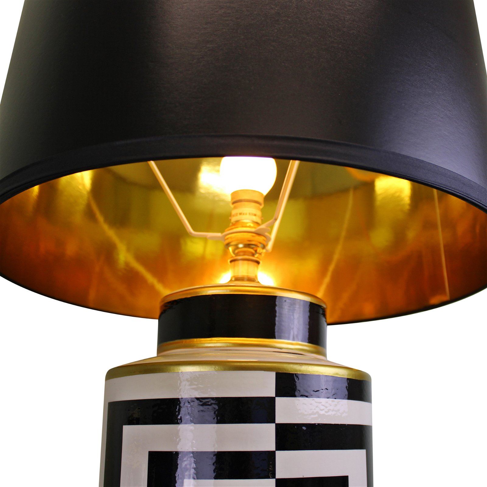 Black/White/Gold Ceramic Lamp, Geometric Design 66cm