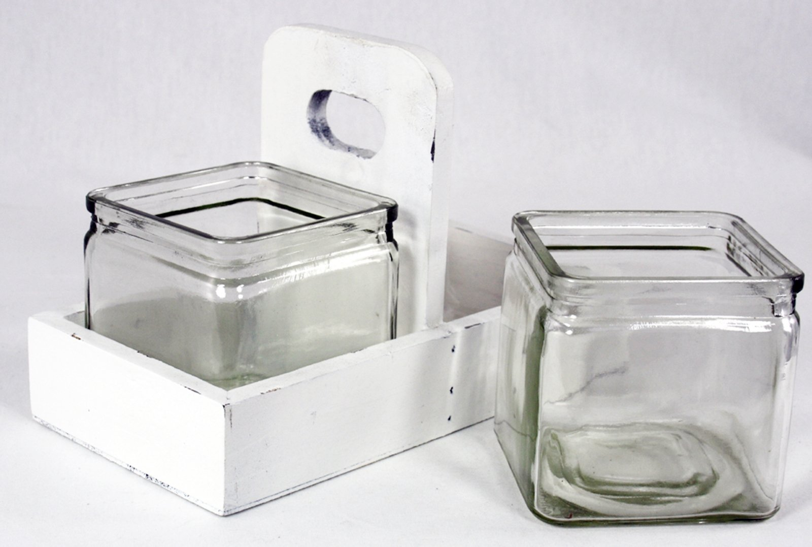 2 Jars In Wooden Holder Cream
