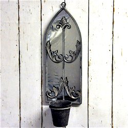 Metal Rusty Wall Mirror With Planter