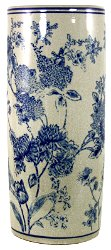 Umbrella Stand, Vintage Blue & White Magnolia Design
