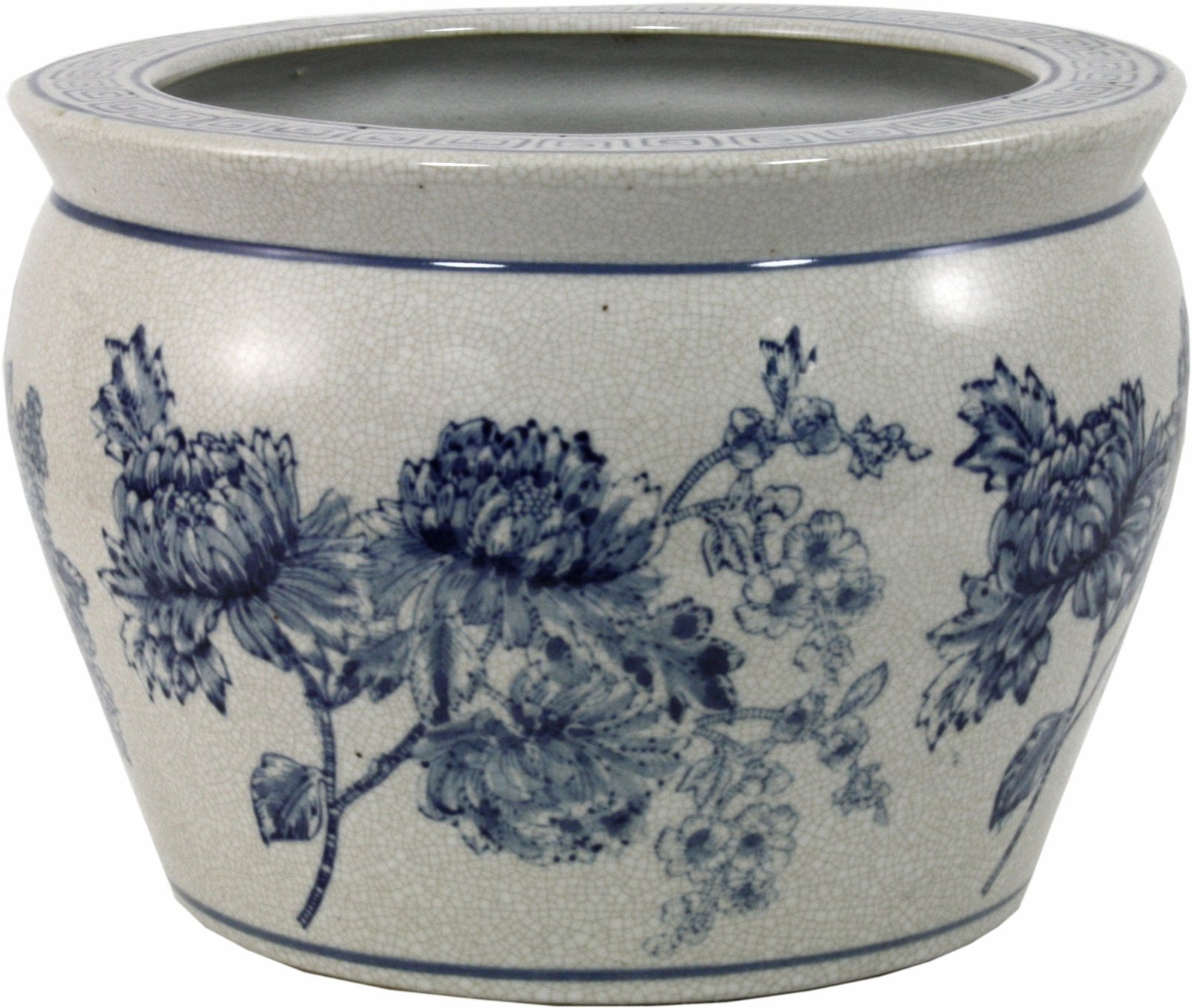 Ceramic Planter, Vintage Blue & White Magnolia Design