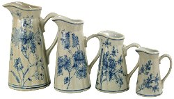 Set of 4 Ceramic Jugs, Vintage Blue & White Magnolia Design