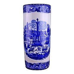 Umbrella Stand, Vintage Blue & White Townscape Design