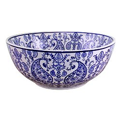 Large Ceramic Bowl, Vintage Blue & White Paisley Design