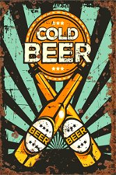 Vintage Metal Sign - Cold Beer