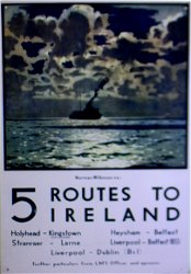 Vintage Metal Sign - Retro Art - 5 Routes To Ireland Ferry Poster