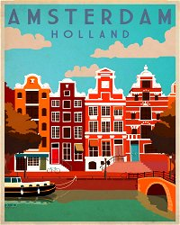 Vintage Metal Sign - Retro Advertising - Amsterdam Travel
