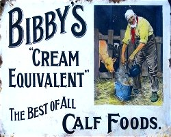 Vintage Metal Sign - Retro Advertising - Bibby's Calf Foods