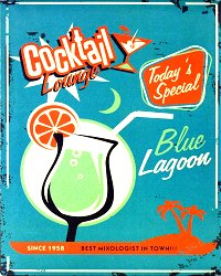 Vintage Metal Sign - Blue Lagoon Cocktail Lounge