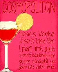 Vintage Metal Sign - Cosmopolitan Cocktail Recipe