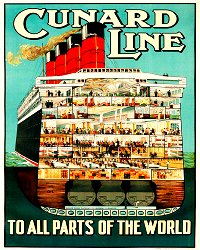 Vintage Metal Sign - Retro Advertising - Cunard Line