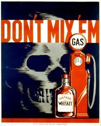 Vintage Metal Sign - Retro Advertising - Skull Gas Whiskey