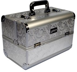 Vanity Case / Makeup Box Silver Leaf Design