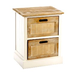 White Wooden Cabinet 2 Drawer 38 x 28 x 48cm