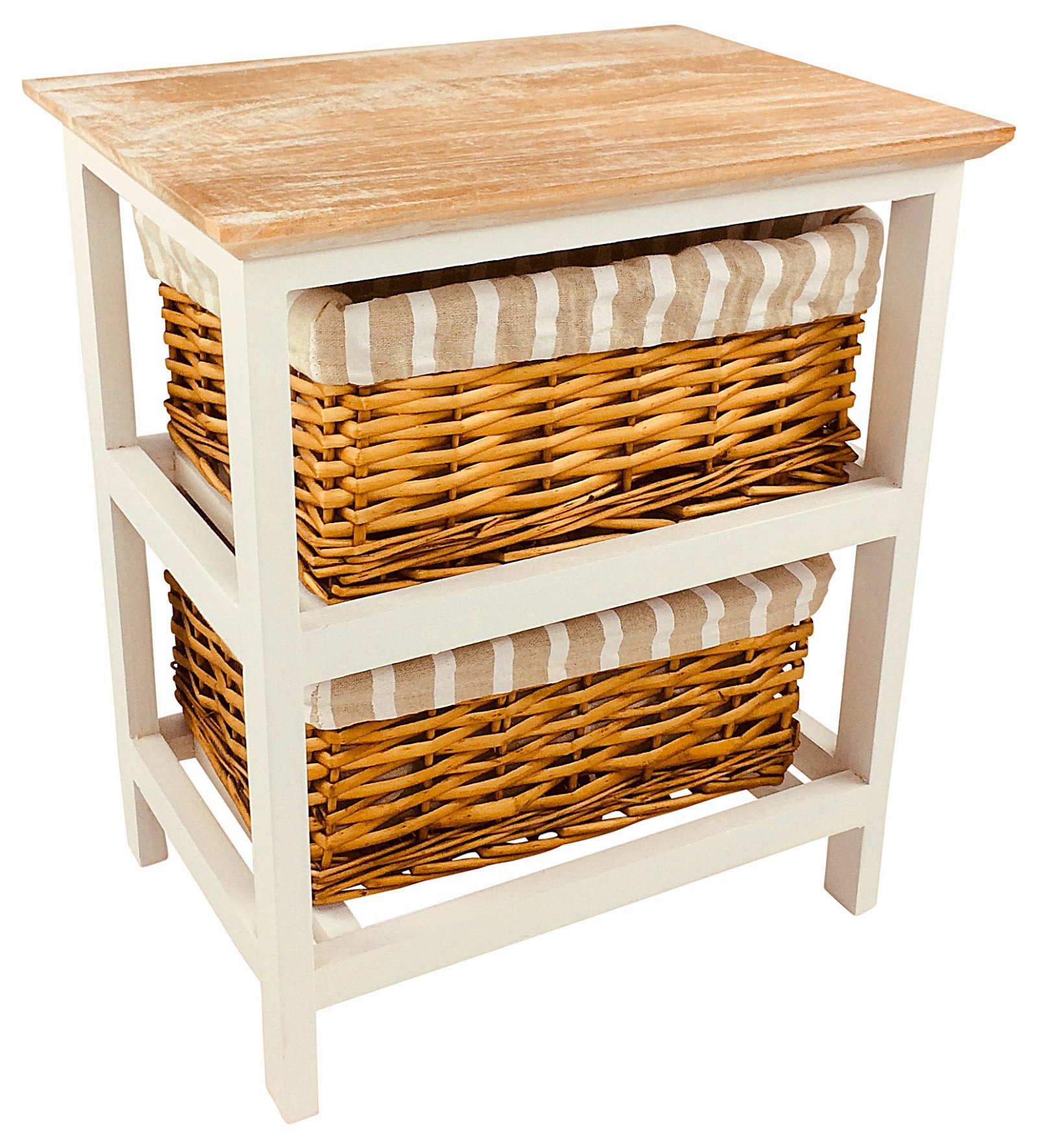 Wooden Storage Cabinet With 2 Baskets 44cm