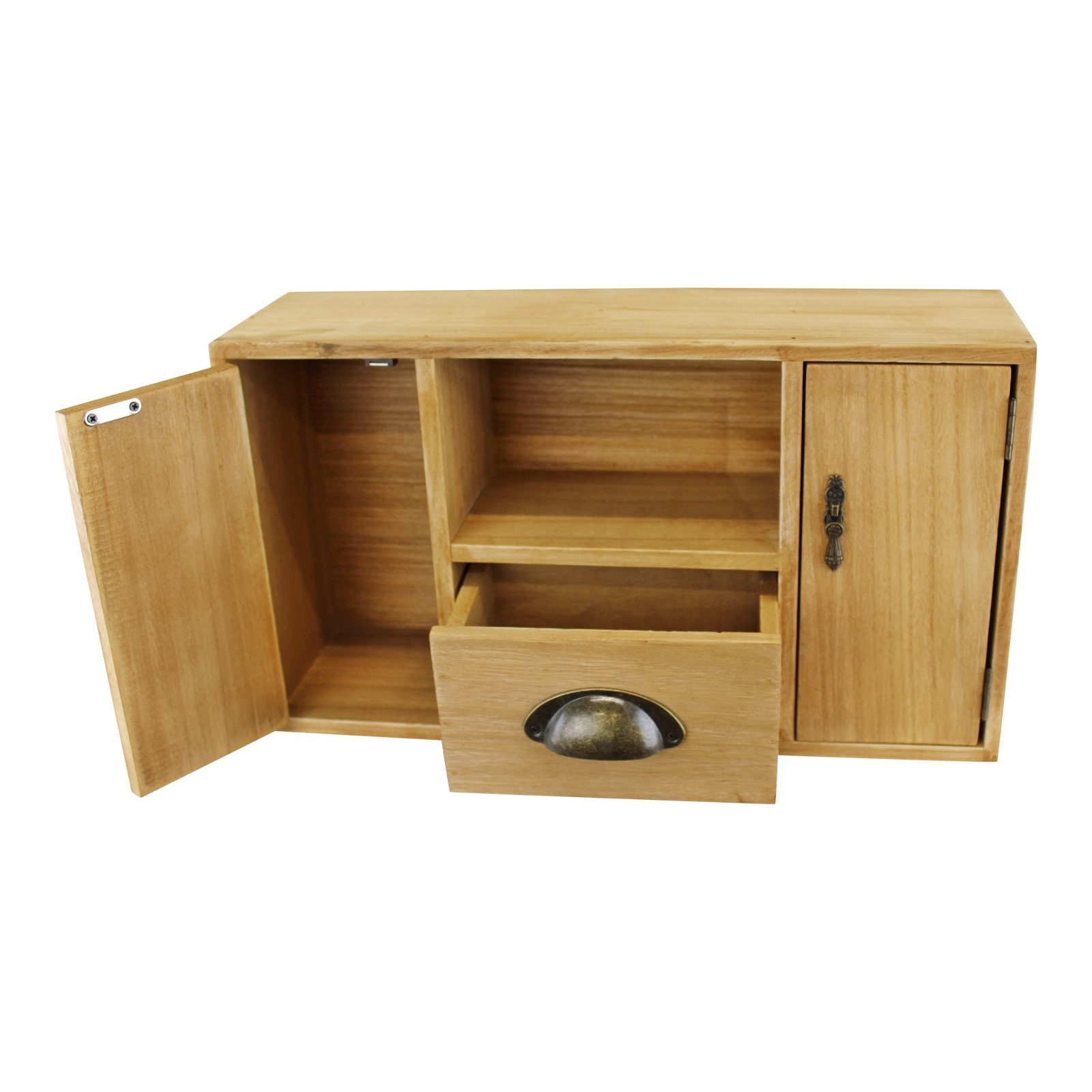 Small Wooden Cabinet with Cupboards, Drawer and Shelf