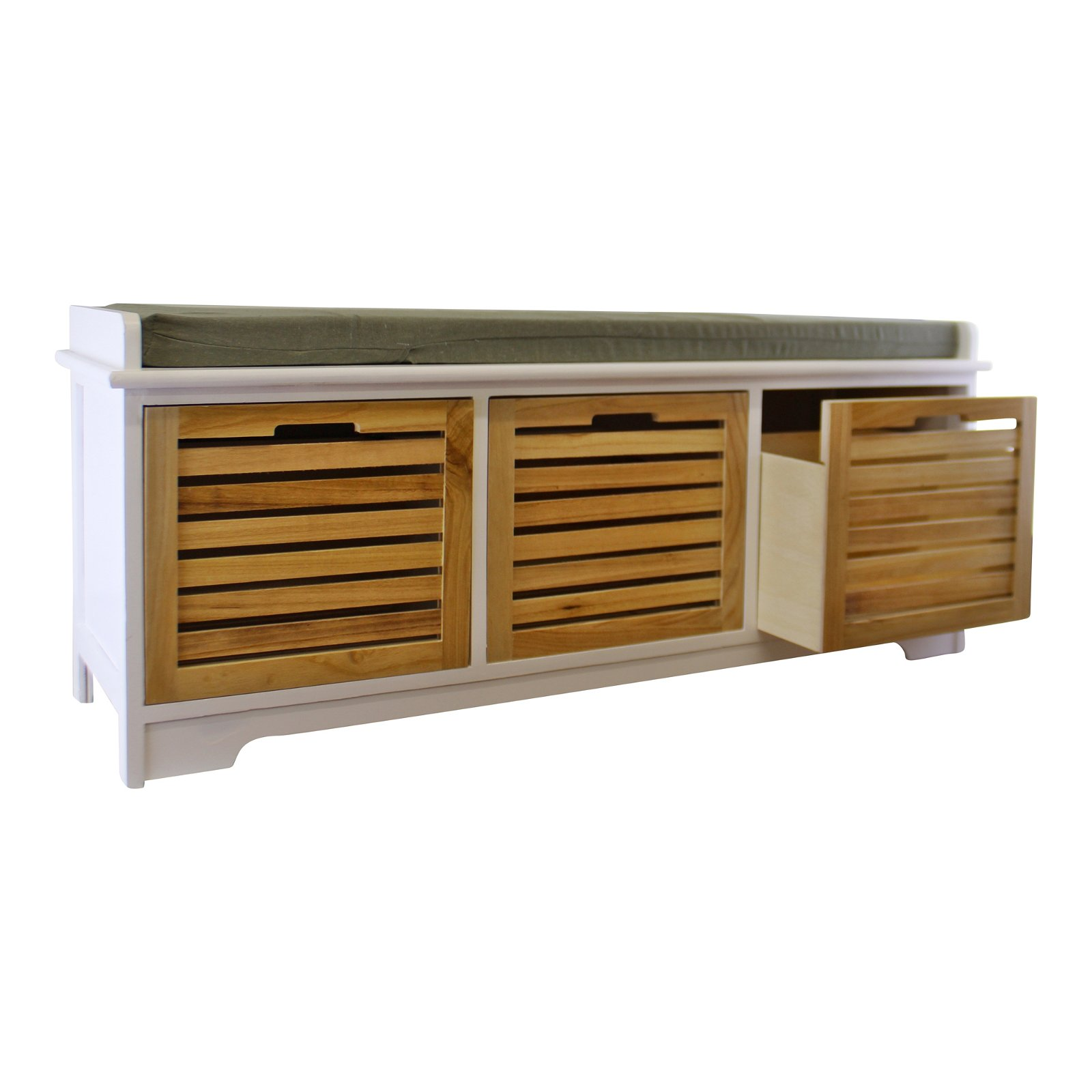 White & Natural 3 Drawer Storage Bench With Grey Cushion