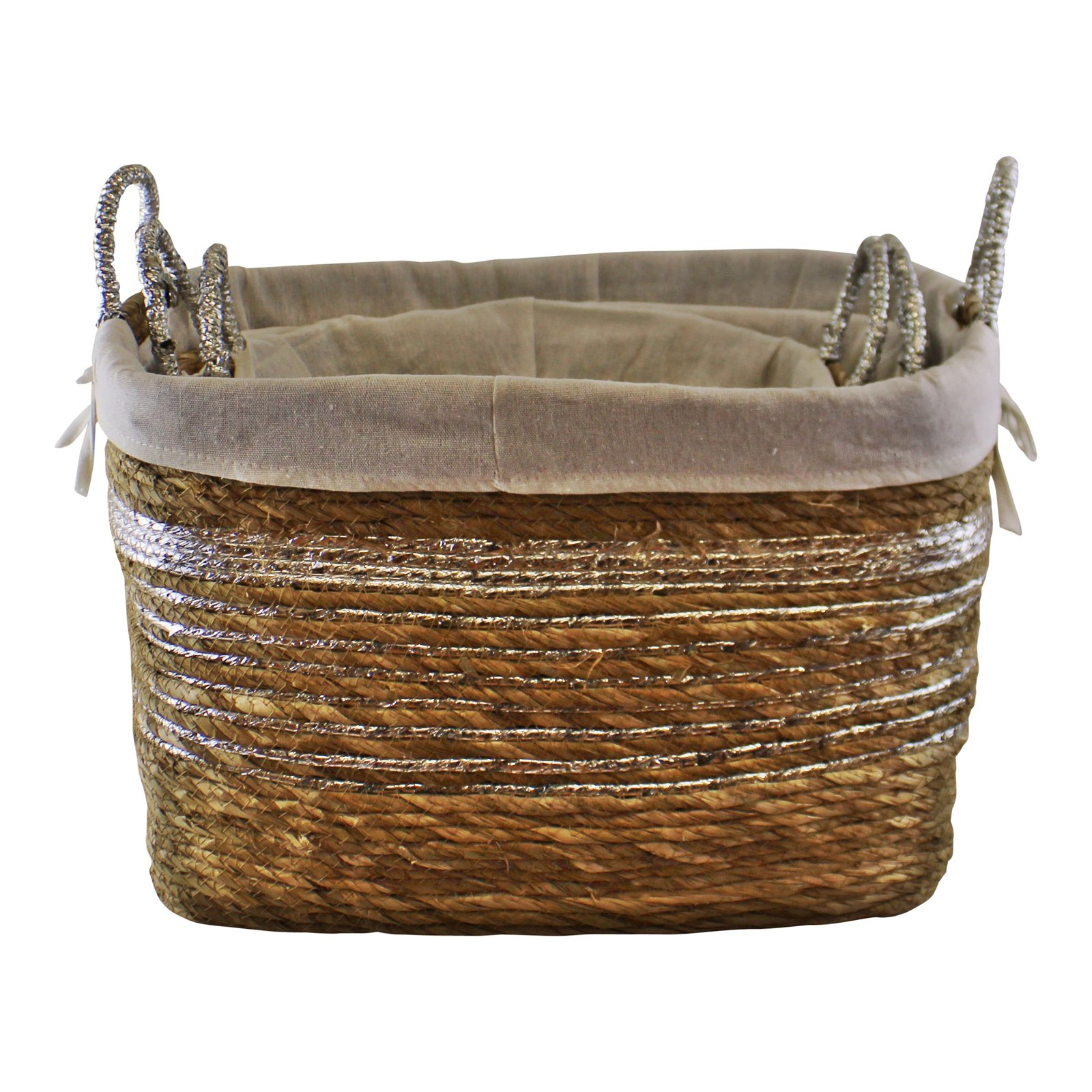 Set Of 3 Fabric Lined Raffia & Silver Baskets