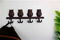 Rustic Cast Iron Wall Hooks, Owls