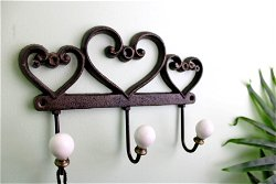 Rustic Cast Iron Wall Hooks, Hearts