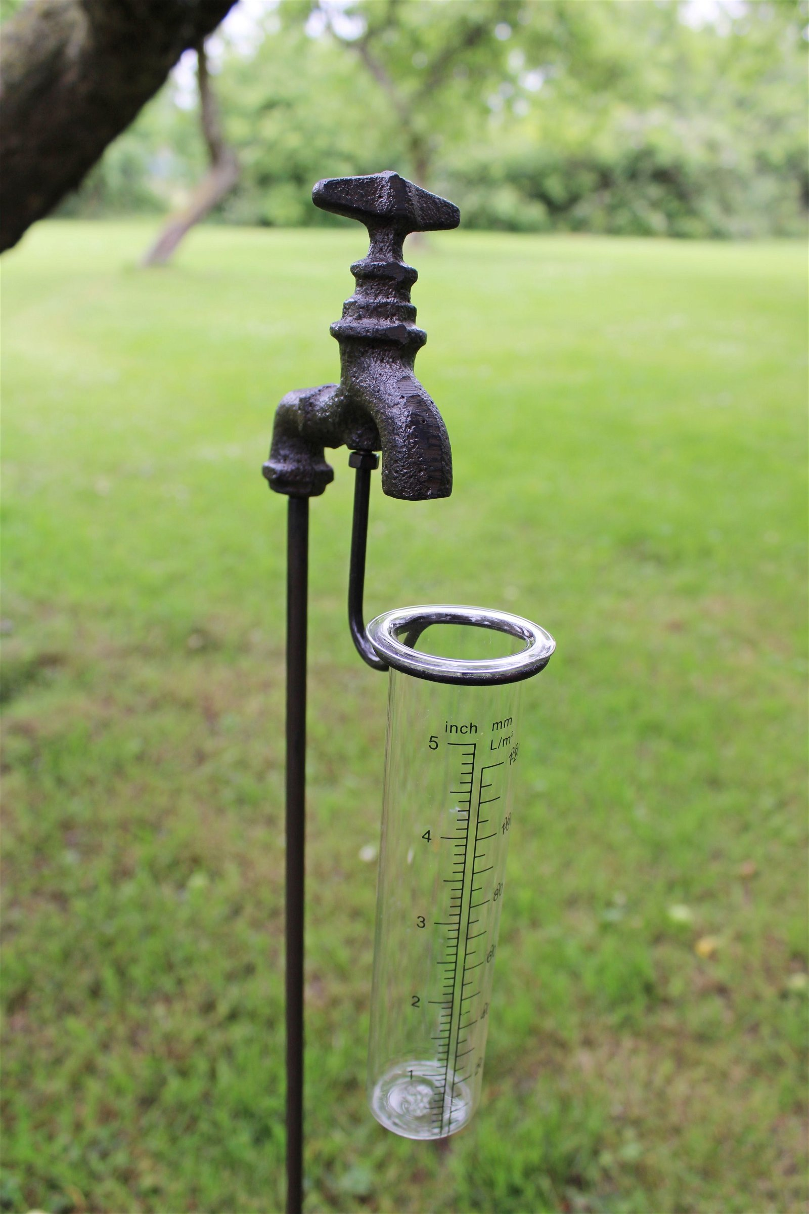 Cast Iron and Glass Garden Rain Gauge, Outside Tap