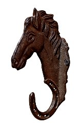 Rustic Cast Iron Wall Hooks, Single hook with horse