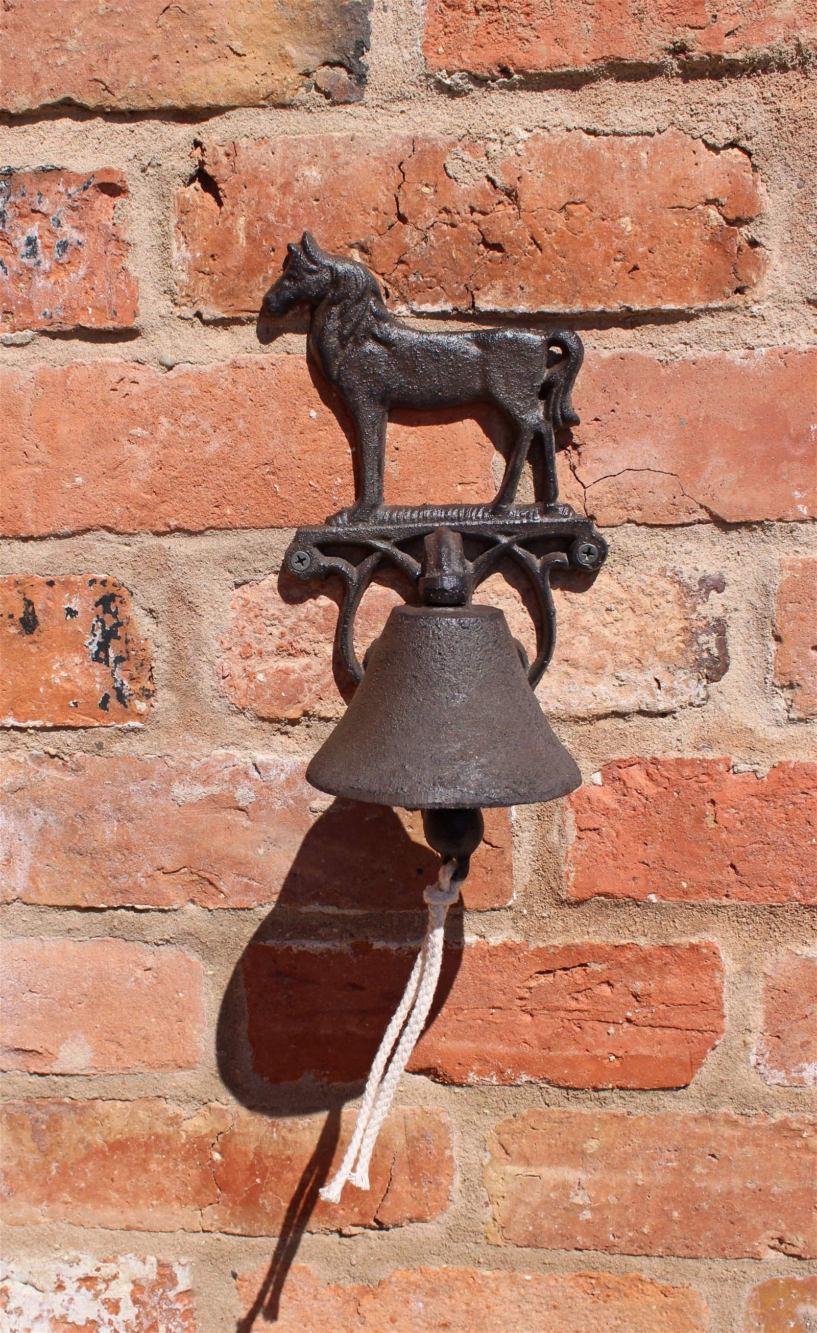 Rustic Cast Iron Wall Bell, Horse