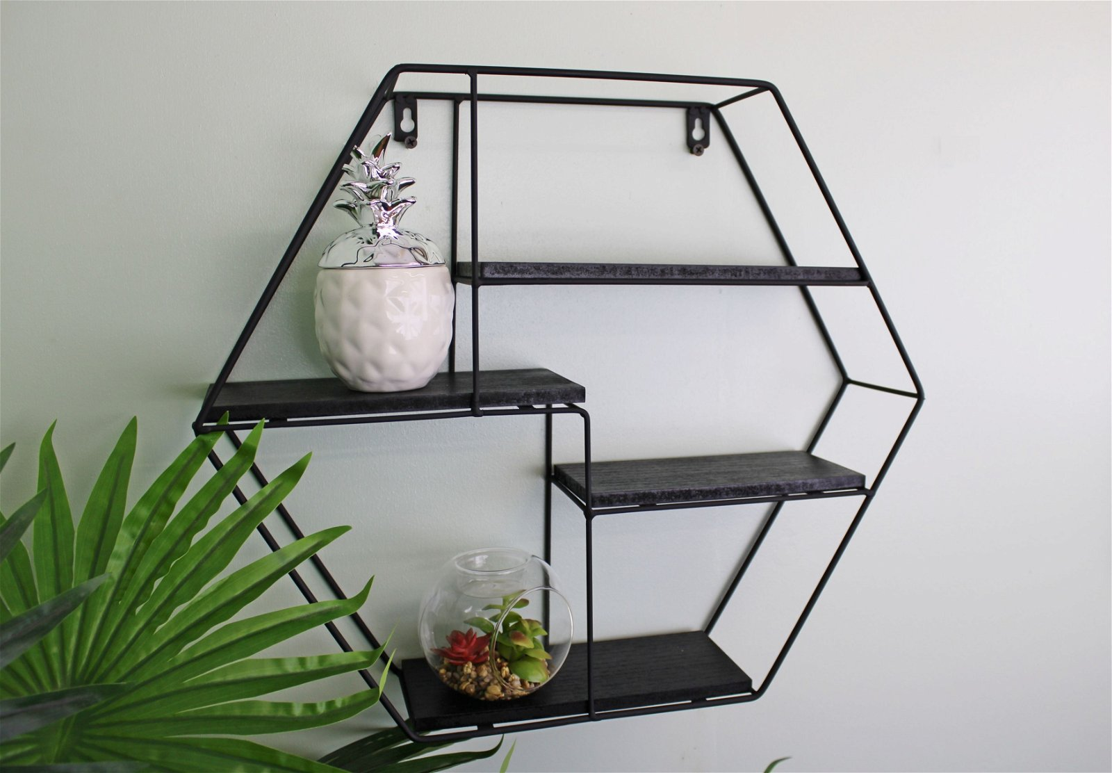 Hexagonal Wall Shelf in Black Metal with 4 Shelves