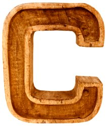 Hand Carved Wooden Embossed Letter C