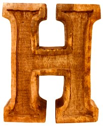 Hand Carved Wooden Embossed Letter H