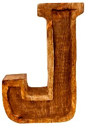 Hand Carved Wooden Embossed Letter J
