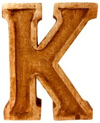 Hand Carved Wooden Embossed Letter K