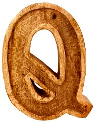 Hand Carved Wooden Embossed Letter Q
