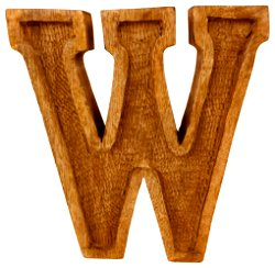 Hand Carved Wooden Embossed Letter W