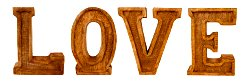 Hand Carved Wooden Embossed Letters Love