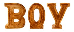 Hand Carved Wooden Embossed Letters Boy