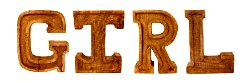 Hand Carved Wooden Embossed Letters Girl