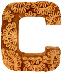 Hand Carved Wooden Flower Letter C