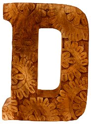Hand Carved Wooden Flower Letter D