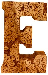 Hand Carved Wooden Flower Letter E