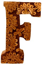 Hand Carved Wooden Flower Letter F