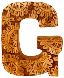 Hand Carved Wooden Flower Letter G