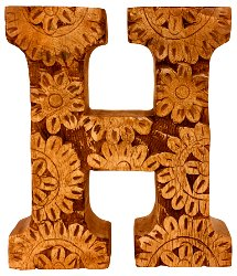 Hand Carved Wooden Flower Letter H