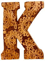 Hand Carved Wooden Flower Letter K